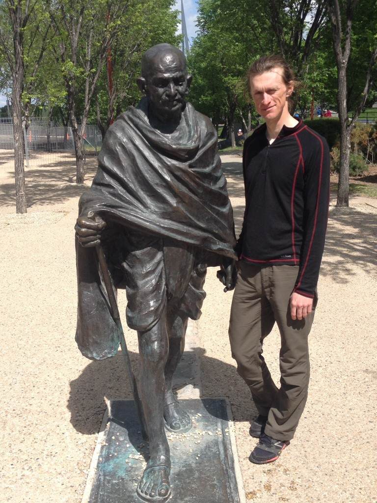 Holding hands with Ghandi at The Forks in Winnipeg