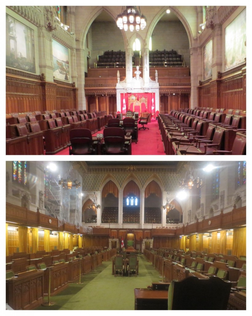 Canada's Senate and House of Commons. There is construction everywhere, even the House of Commons. I guess no royal visit this summer.