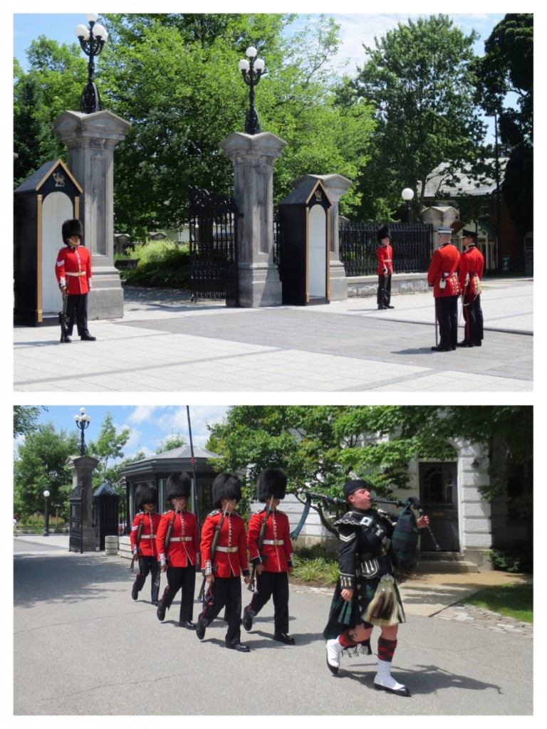 The changing of the guard at a Rideau Hall. The sprawling grounds are located directly across the street from the prime minister's residence. I wonder if the prime minster is required to walk up the drive and knock on the door to form or dissolve her/his government?