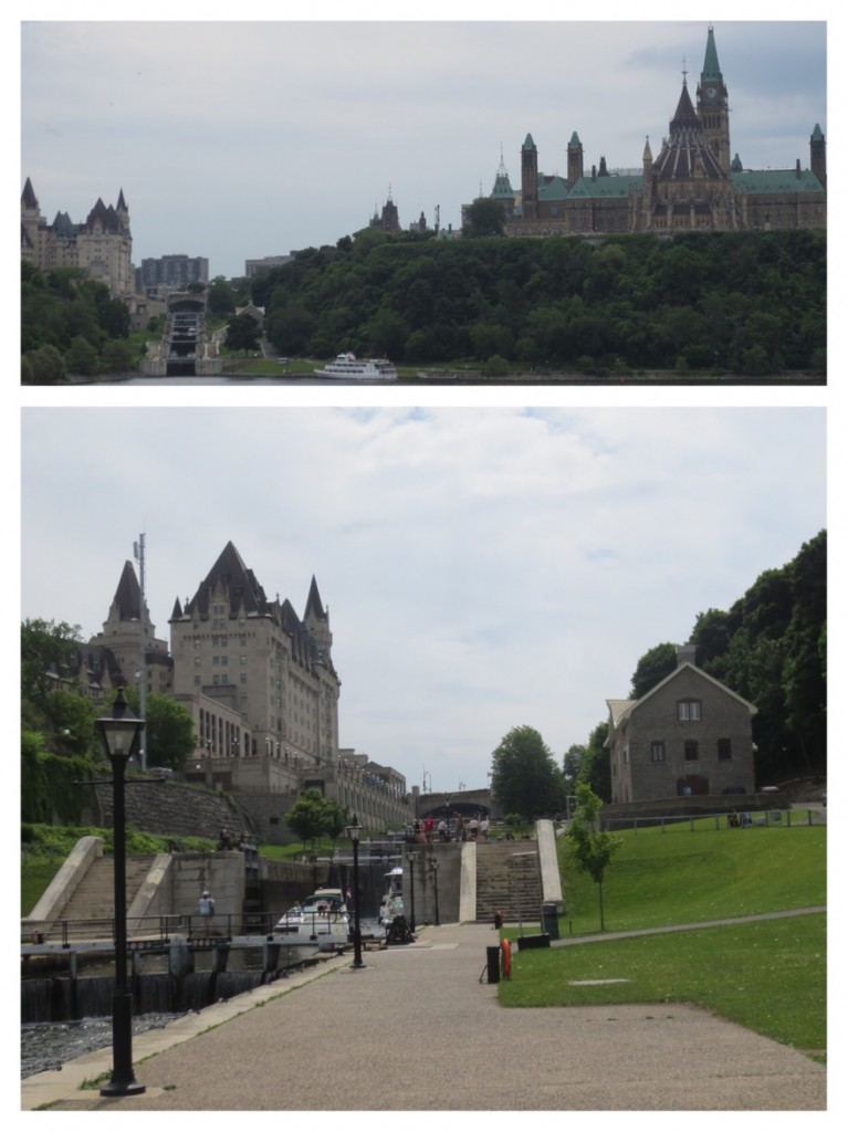 Entrance to the Rideau Canal flanked by the Chateau Laurier on the left and Parliament Hill on the right. The canal was dug to prevent US barricading English supply ships on the St Lawrence after the War of 1812. The Canal was never used for military ships.